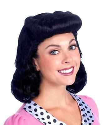 40's 50's Bombshell Girls Lady Black Wig Housewife Retro Costume Accessory Women
