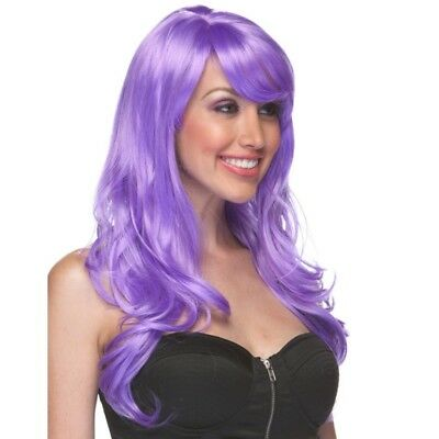 High Quality Burlesque Lavender Long Wavy Lolita Costume Wig with Bangs EDC Rave