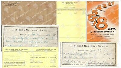 First National Bank KINGSPORT TN 1957 Checks, Statement, Post Marked Envelope
