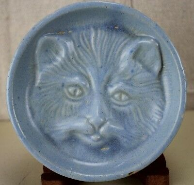 Vintage Blue Salt Glaze Kitty Cat Soap Dish