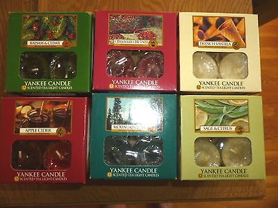 Yankee Candle Tea Light Candles **Set F** Sampler - 2 @ of 6 Scents FREE ShipNEW