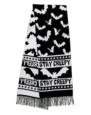 Witchy Black N' White Stay Creepy Large Knitted Winter Scarf Gothic Bats Stars