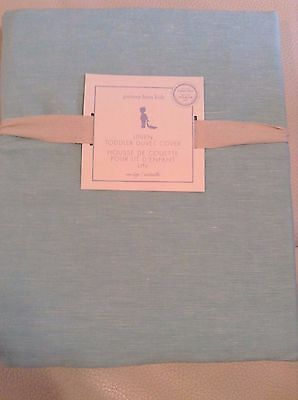 Pottery Barn Kids Linen Toddler Duvet Aqua Blue Turquoise NWT!