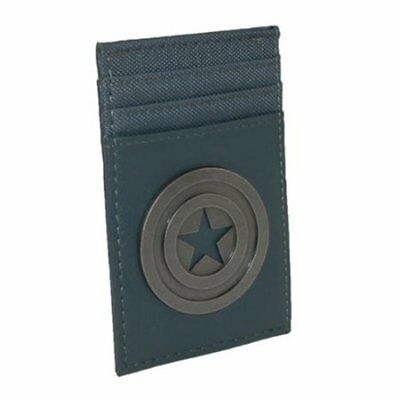 Captain America Shield Front Pocket Wallet Grey Faux PU Leather The Avengers