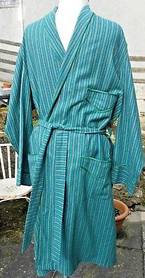Vintage Gents Green Stripe Dressing Gown/Robe/Housecoat Size M