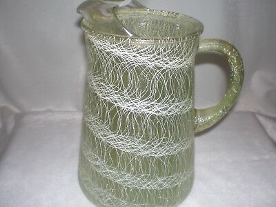 Vtg Large Green Spaghetti String Pitcher Color Craft Mid Century 50's retro bar
