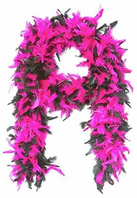 Hot Pink & Black 100% Feather Boa 140GM Over 6 ft Costume Accessory Burlesque