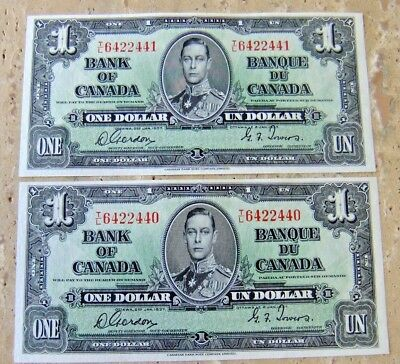 1937 Bank of Canada Choice UNC Consecutive Pair of One Dollar Notes