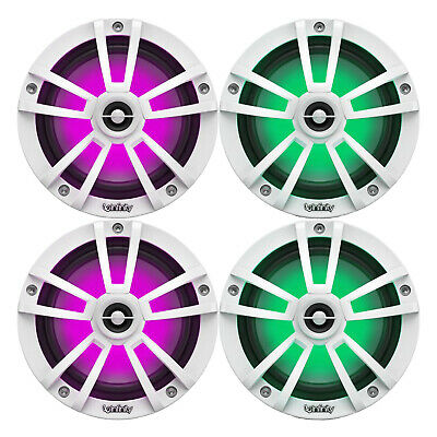 """New Kicker LED White OEM Replacement Marine 6.5"""" 4Ω Coaxial Speaker Bundle - 4x"""