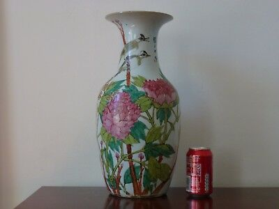 Ancien Vase Chine Antique Chinese Famille Rose Porcelain 19th Bird Calligraphy