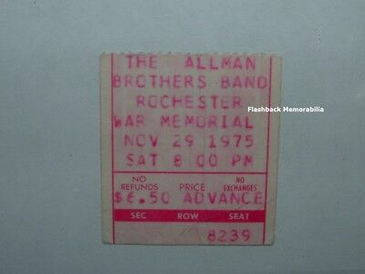 ALLMAN BROTHERS BAND 1975 Concert Ticket Stub ROCHESTER NY War Memorial RARE