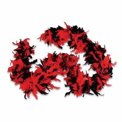 Red & Black 100% Feather Boa 140GM Over 6 ft Costume Accessory Burlesque