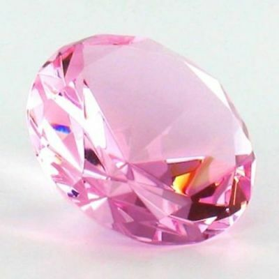 30mm Pink Crystal Diamond Shape Paperweight Gem Display Ornament