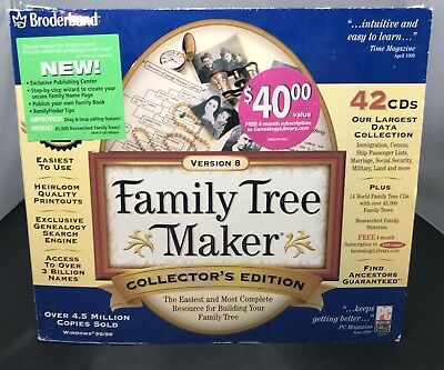 Broderbund Family Tree Maker 42 CDs total - Version 8. Collectors Edition