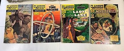 50's Lot (x4) Classics Illustrated Comic Books THE TIME MACHINE LADY OF THE LAKE