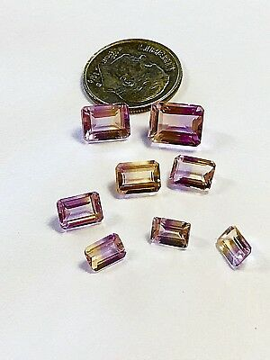 Ametrine Lot Sets Matching Pairs 8 Natural Loose Gemstone 8 plus cts Emerald Cut