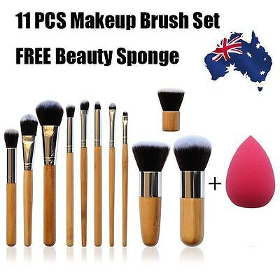 11 PCS Professional Bamboo Makeup Brush Set FREE Beauty Sponge Kabuki Contour WO