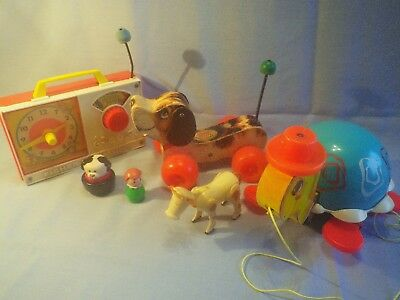 Vintage Fisher Price Toys Lot,  Pull Toys and Radio 3 items