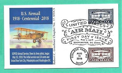 5281-5282 Air Mail Blue & Red Combo FDC, 2018, Graebner Cachet, Dual Cancels