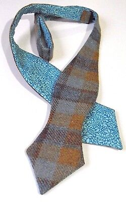 2ecd0f1c4749 Tweed Blue/Brown Turquoise Check Wool Self tie Bow tie/Liberty print lining