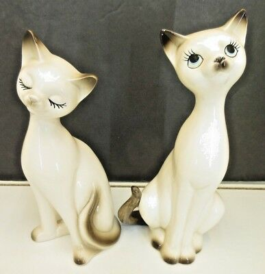 Vintage NAPCO, NAPCOWARE Pair of Porcelain SIAMESE CAT Figurines, Japan