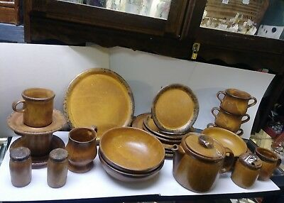 VINTAGE McCOY CANYON MESA POTTERY DISHES, COFFEE POT CREAM SUGAR SERVING BOWLS
