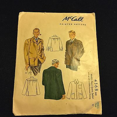 McCalls 4368 Mens Boys Sports Jacket Size Small 10-12 Vintage Sewing Pattern