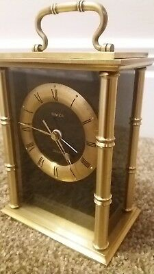 "Beautiful ""swiza"" Swiss Heavy Brass Cased Quality Carriage Clock. With Alarm"