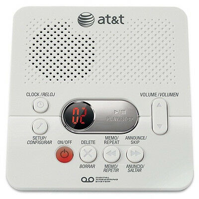AT&T 1740 Digital Answering System With Time and Day Stamp - White