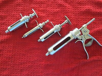 Vintage Metal Veterinary Syringes - (1) 6cc, (2) 10cc and (1) 25 cc Franklin Co.