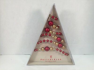 Pottery Barn Mercury Garland Red Gold Christmas Ball 5'