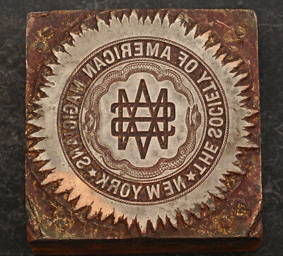 "1920s, USA, New York. ""Society of American Magicians"" Seal on Wooden Block. R!"