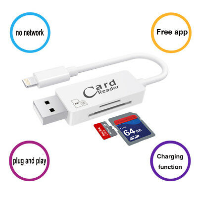 USB Lightning Flash Drive SD Data Cable Card Reader For Apple iPhone iPad PC IOS