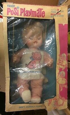"""Vintage Posi Playmates Bendable 23"""" Doll Eegee with Box"""