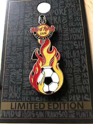 Hard Rock Cafe Manchester Flaming Soccer Guitar pin - 2018 Limited Edition