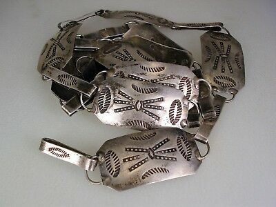 """GREAT OLD 1930s NAVAJO STAMPED STERLING SILVER CONCHO LINK BELT 35"""" long"""