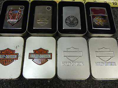 Lot 7 of 4 Harley-Davidson Zippo w/ Boxes Yellow Flame #1 Red White Blue - New