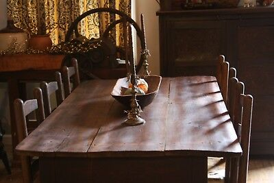 Antique Primitive Farm Dining Table And Six Leather Hide Chairs Farmhouse