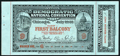 1940 DEMOCRATIC NATIONAL CONVENTION TICKET/Pass~Chicago IL~Roosevelt/Wallace