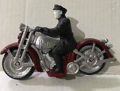 Vintage Antique Cast Iron Motorcycle Cop, Patrol Toy Hubley?