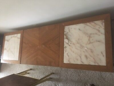 Wooden Coffee Table and End Table Set with Marble Panels in Top