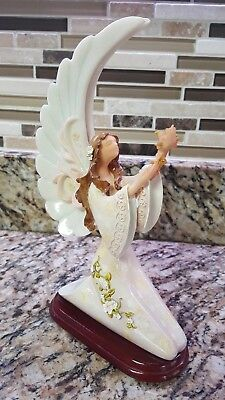 Angel Figurine Kneeling on Wooden Stand Holding Flowers Lots of Detail- EUC