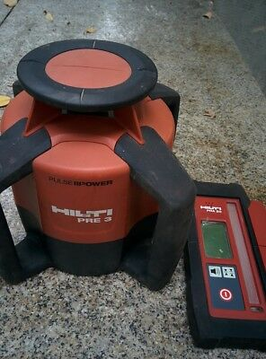 HILTI PRE 3 Red Rotary Laser Level Includes PRA 20 Detector And PRA83 holder