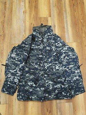 USN US Navy Working Uniform Digital Blue Gore-Tex Parka Jacket Small Short (N/R)