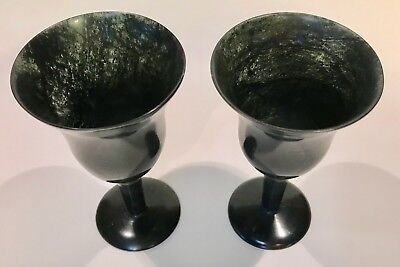 2 SPINACH JADE WINE GLASS CORDIALS GOBLET CUP Translucent Carved Green Nephrite