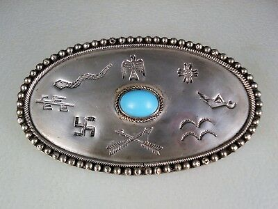 EARLY Fred Harvey Era STAMPED STERLING SILVER THUNDERBIRD & WHIRLING LOGS PIN