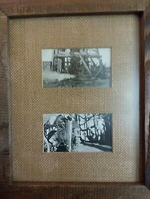 Vintage Oil Drilling photographs wooden Rig Framed