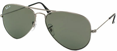 f9048af336a Ray Ban Aviator Classic RB 3025 004 58 Gunmetal Sunglasses Green Polarized  58mm