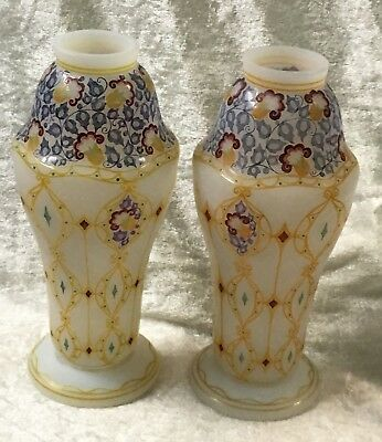 "Pair of enameled opaline glass vases, hand painted 7 5/8"" tall"