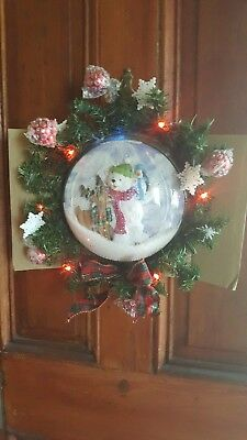 Avon Musical Snow-blowing Lighted Wreath and Recordable Light UP Santa Wreath